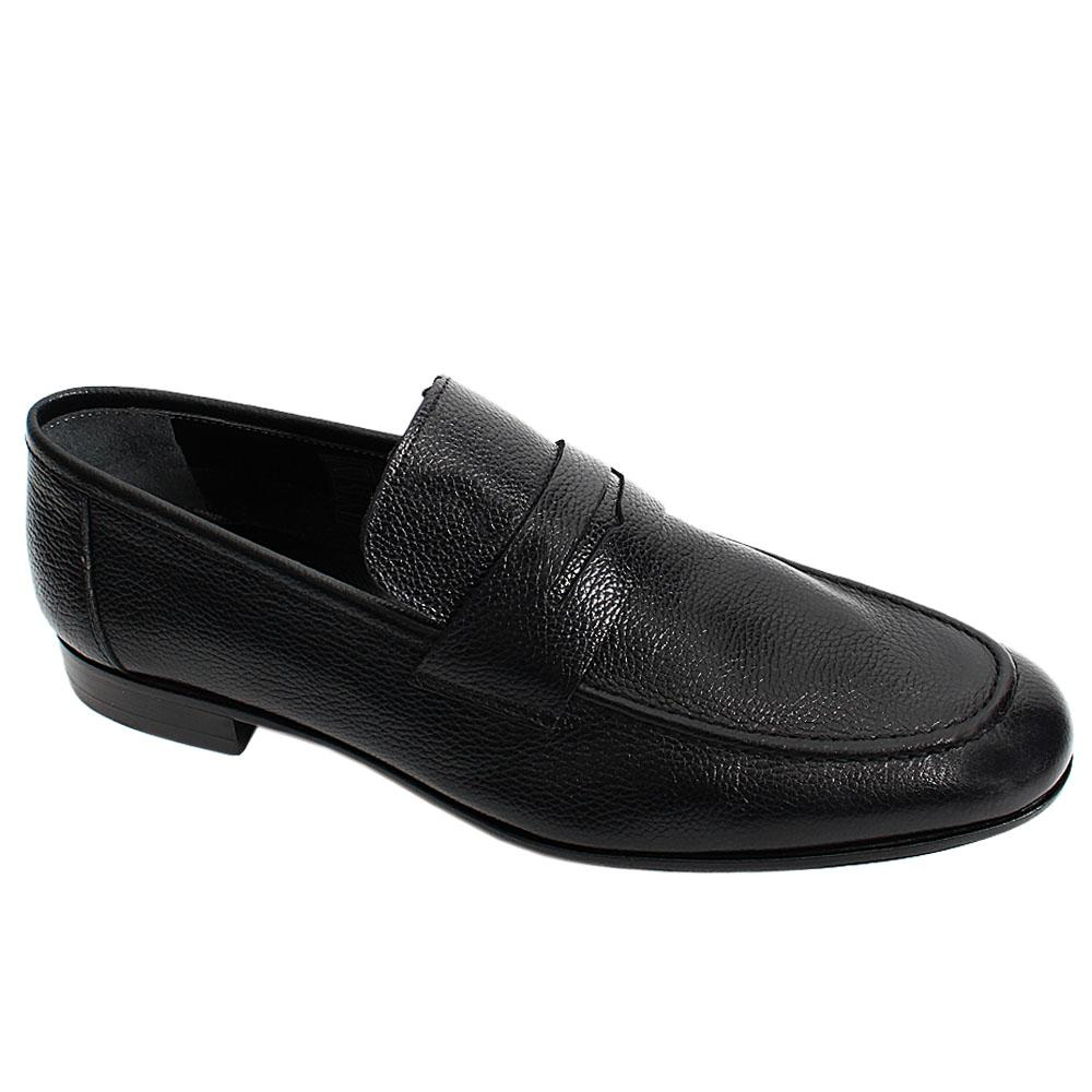 Black Mitch Floter Italian Leather Men Penny Loafers