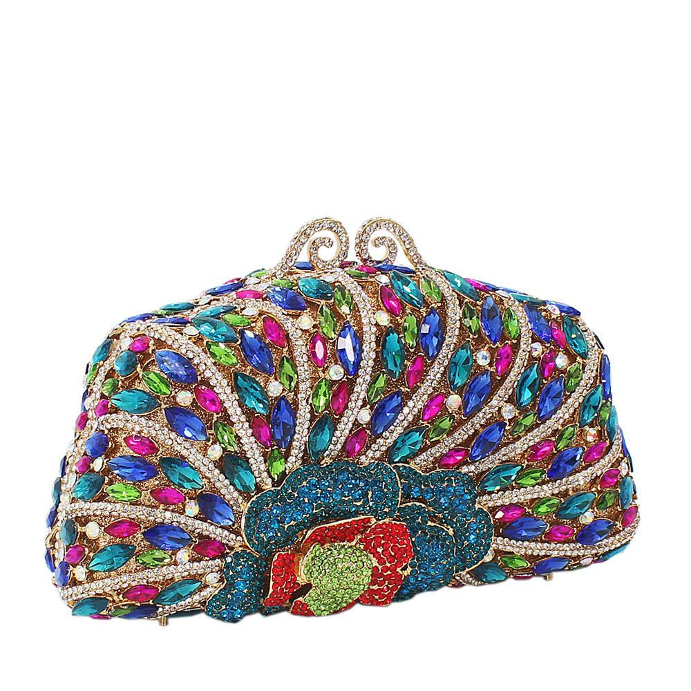 Multicolor Diamante Crystals Clutch Purse