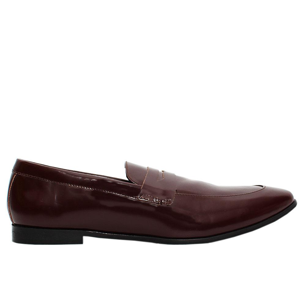 Wine Annstead Patent Leather Loafers