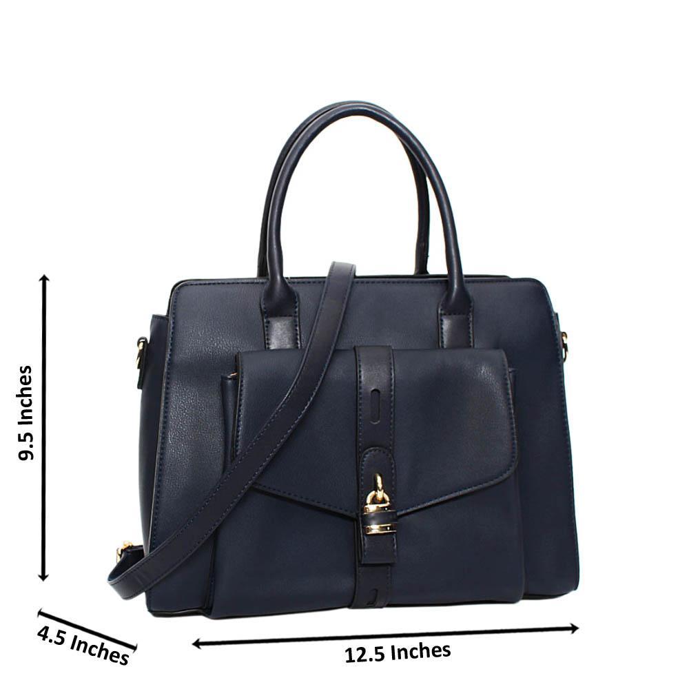 Navy Aaliyah Leather Medium Tote Handbag