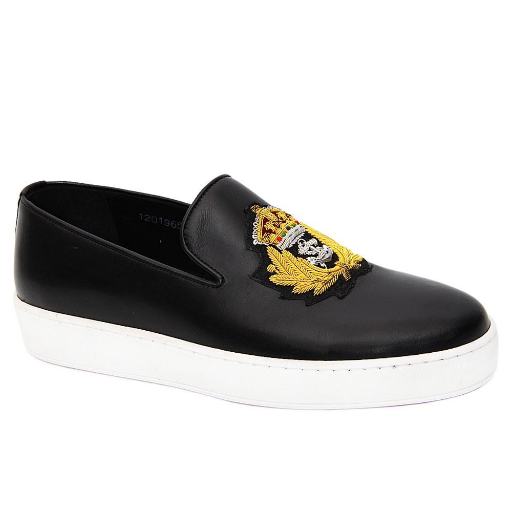 Black Royale Italian Leather Slip-On Sneakers