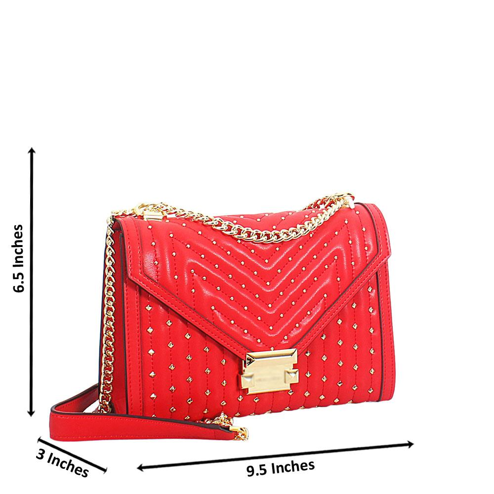 Red Gold Studded Leather Chain Crossbody Handbag