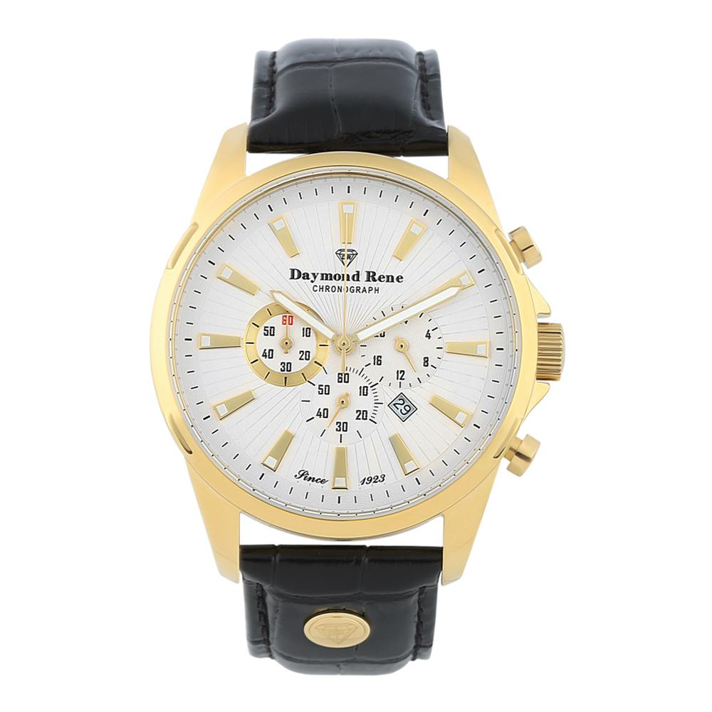 Black Gold Leather Chronograph Watch