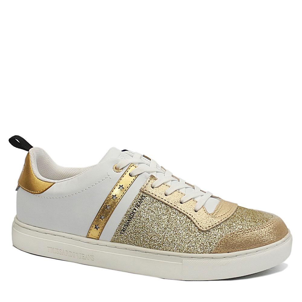 Trussardi Gold White Mix Glitter Leather Ladies Sneakers