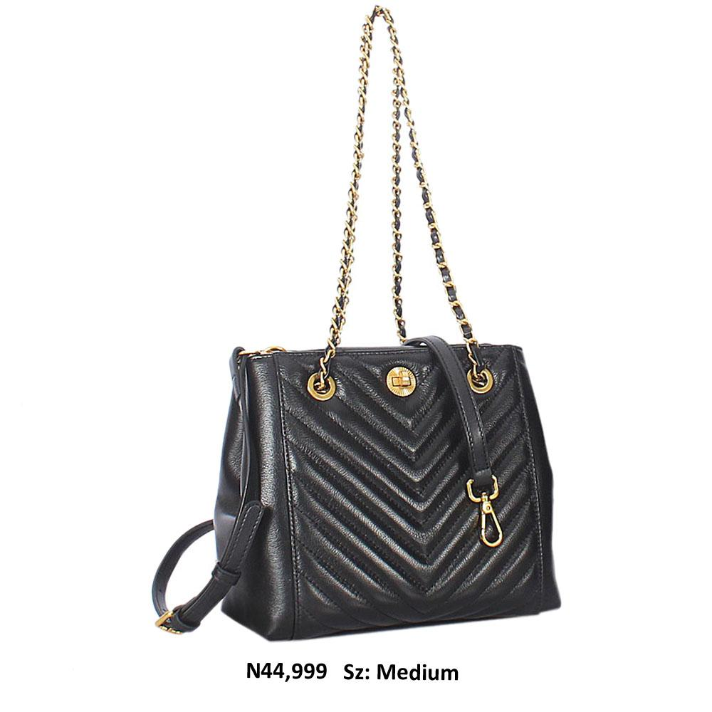 Black Meave Leather Chain Shoulder Handbag