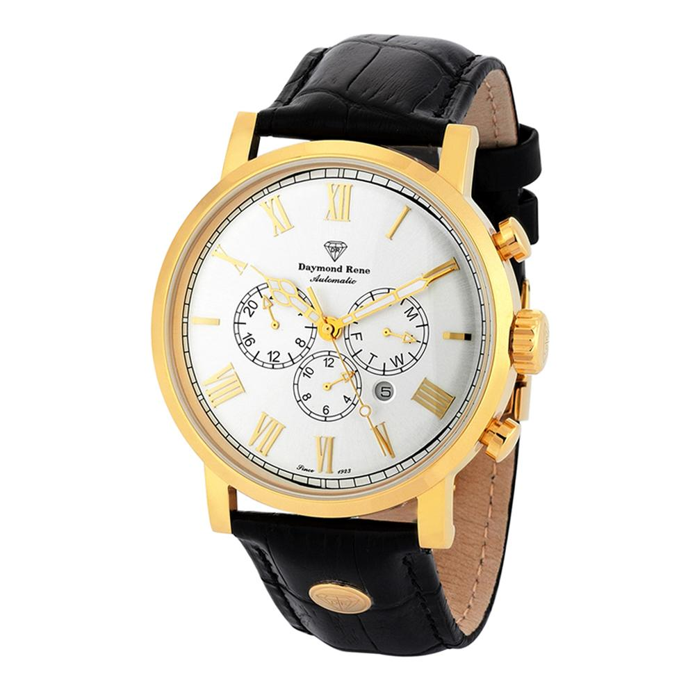 Black Gold Leather Automatic Watch