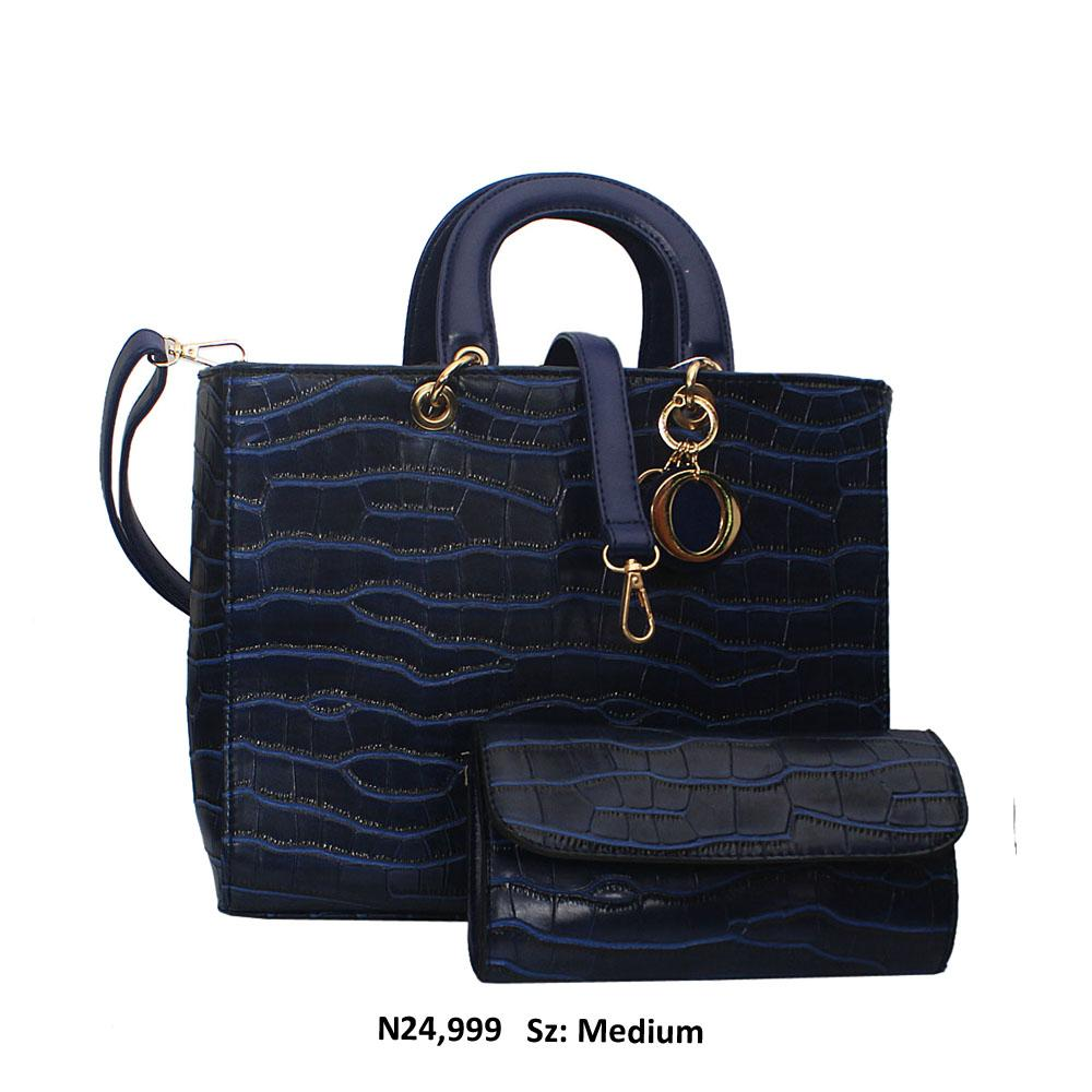 Navy Dolce Croc Style Leather Tote Handbag