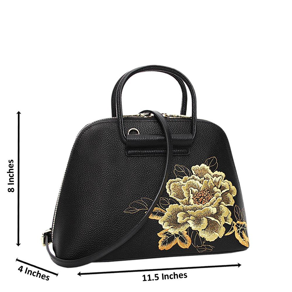Black Golden Analia Floral Premium Leather Small Handbag