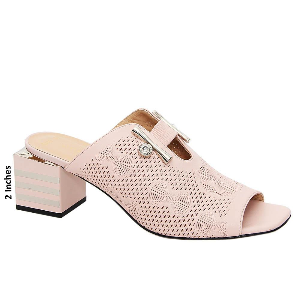 Baby Pink Kamilah Tuscany Leather Mid Heel Mule