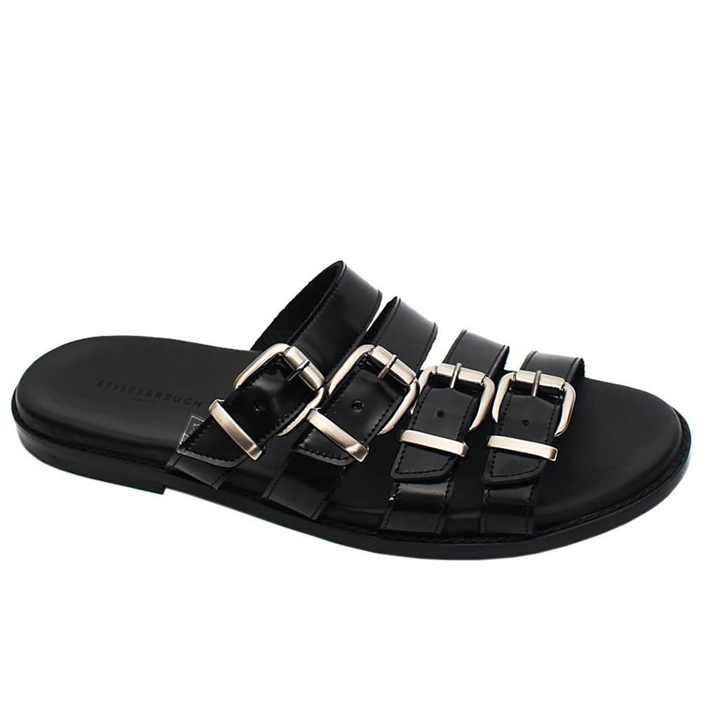 Black Saul Patent Italian Leather Men Slippers