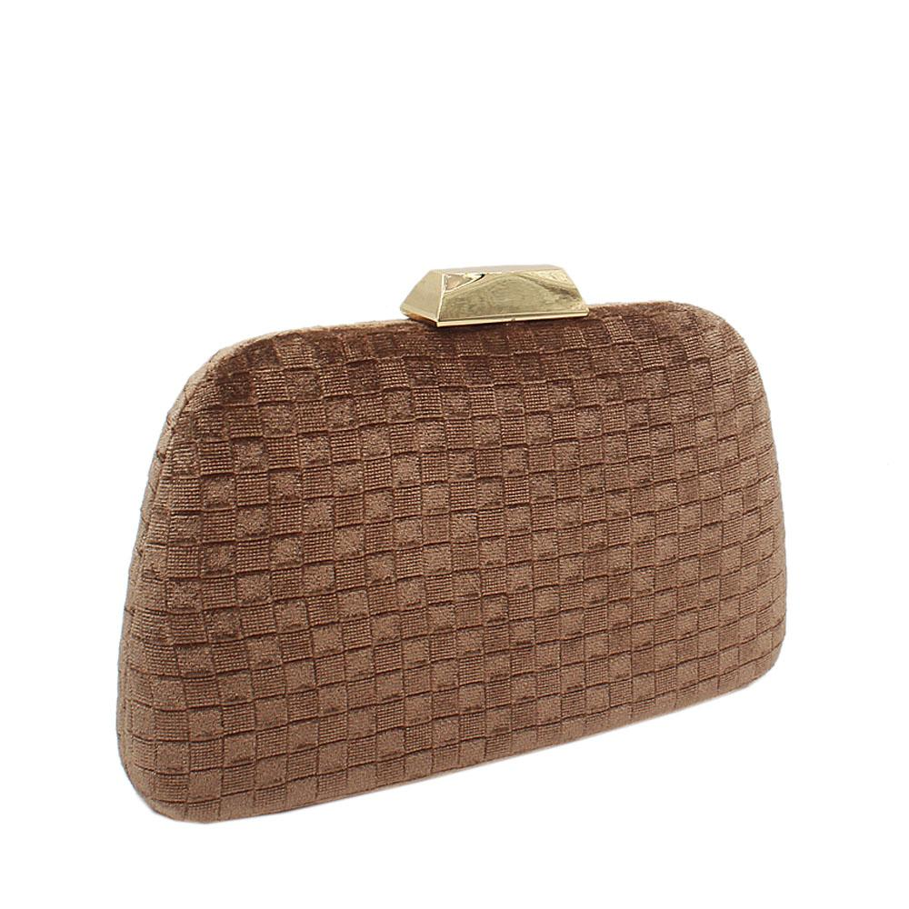 Gold Corduroy Fabric Clutch Purse