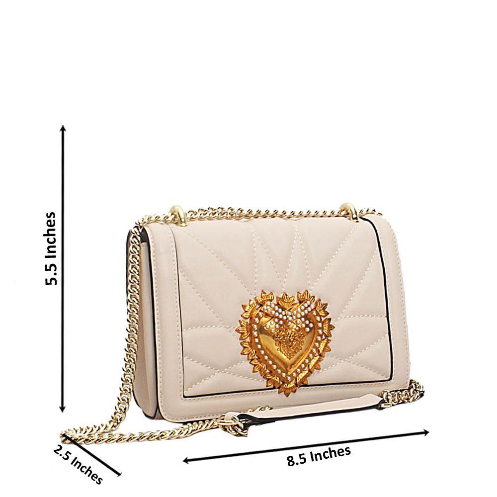 Cream Alessia Saffiano Leather Crossbody Handbag