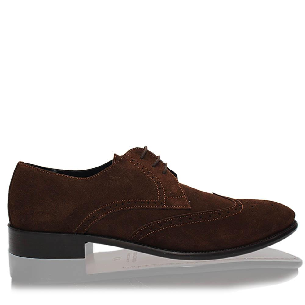 Coffee Viento Italia Suede Leather Men Derby Shoes