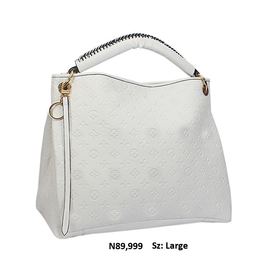 White Cowhide Leather Big Designer Handbag