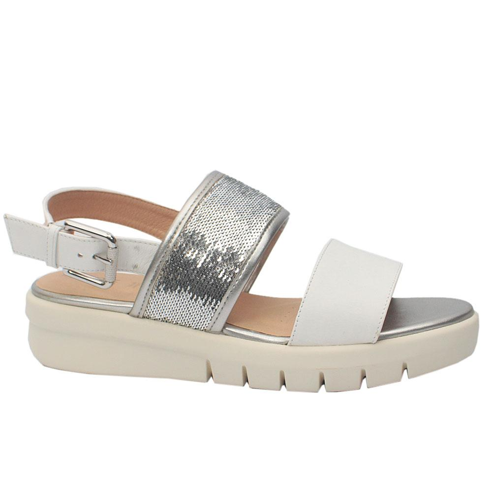 Geox Respira Wembley White Shimmering Leather Platform Sandals