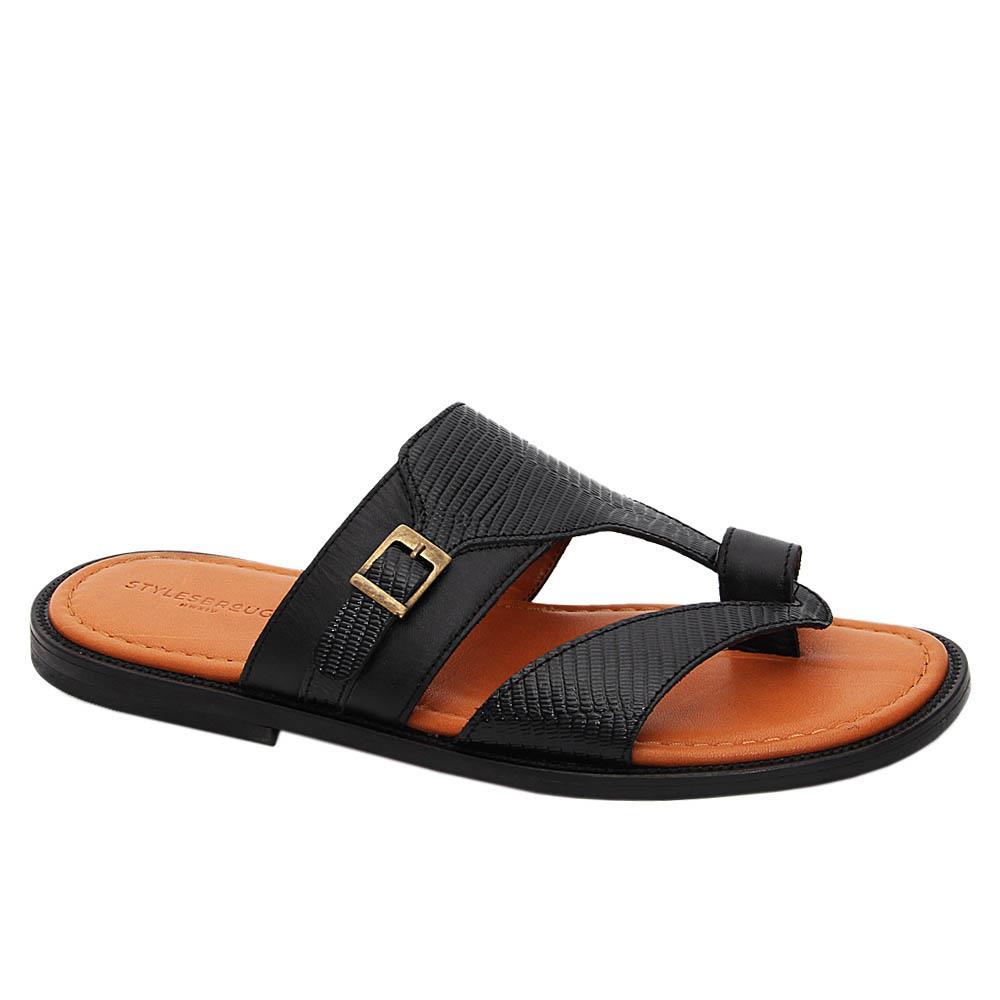 Black Ampelio Italian Leather Slippers
