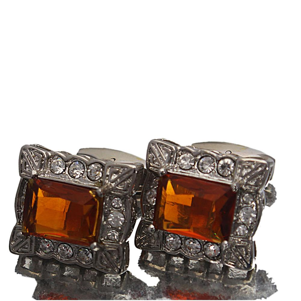 Silver Brown Diamond Ice Stainless Steel Cufflinks