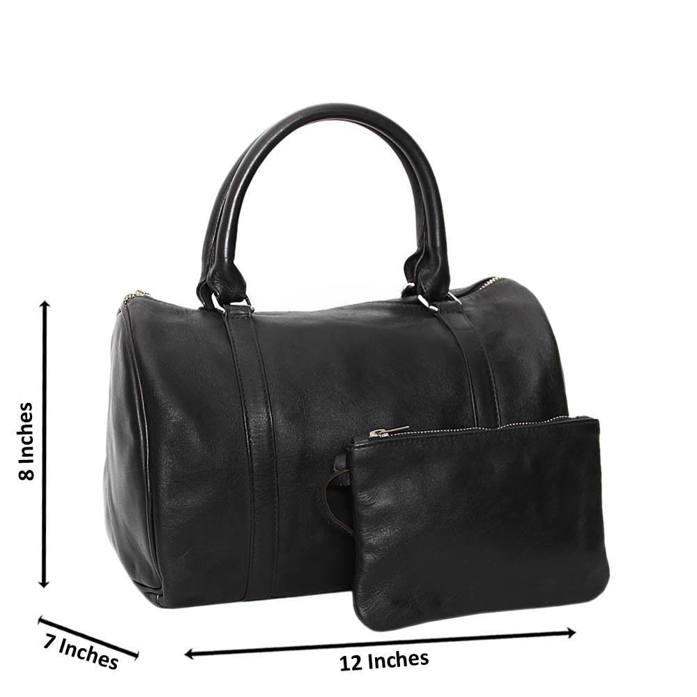 Black Casiana Cowhide Leather Medium Duffle Handbag