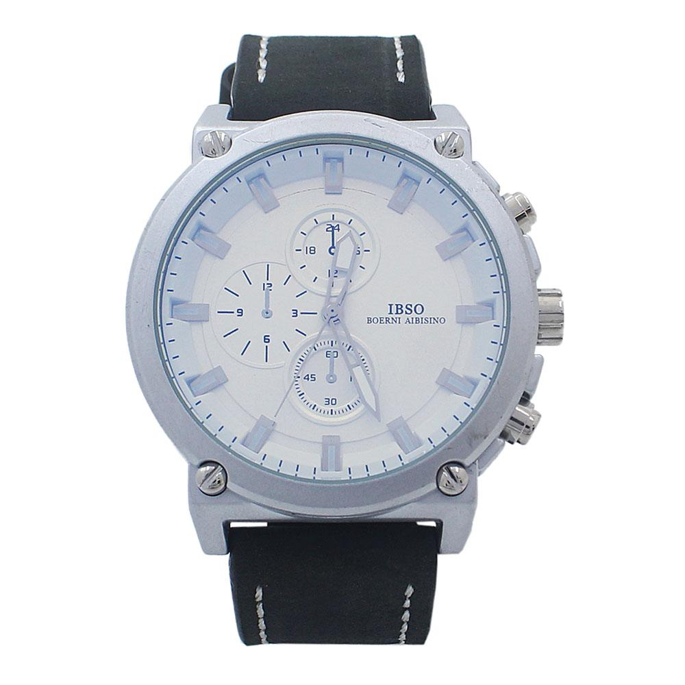 Iron Black White Croc Leather Watch