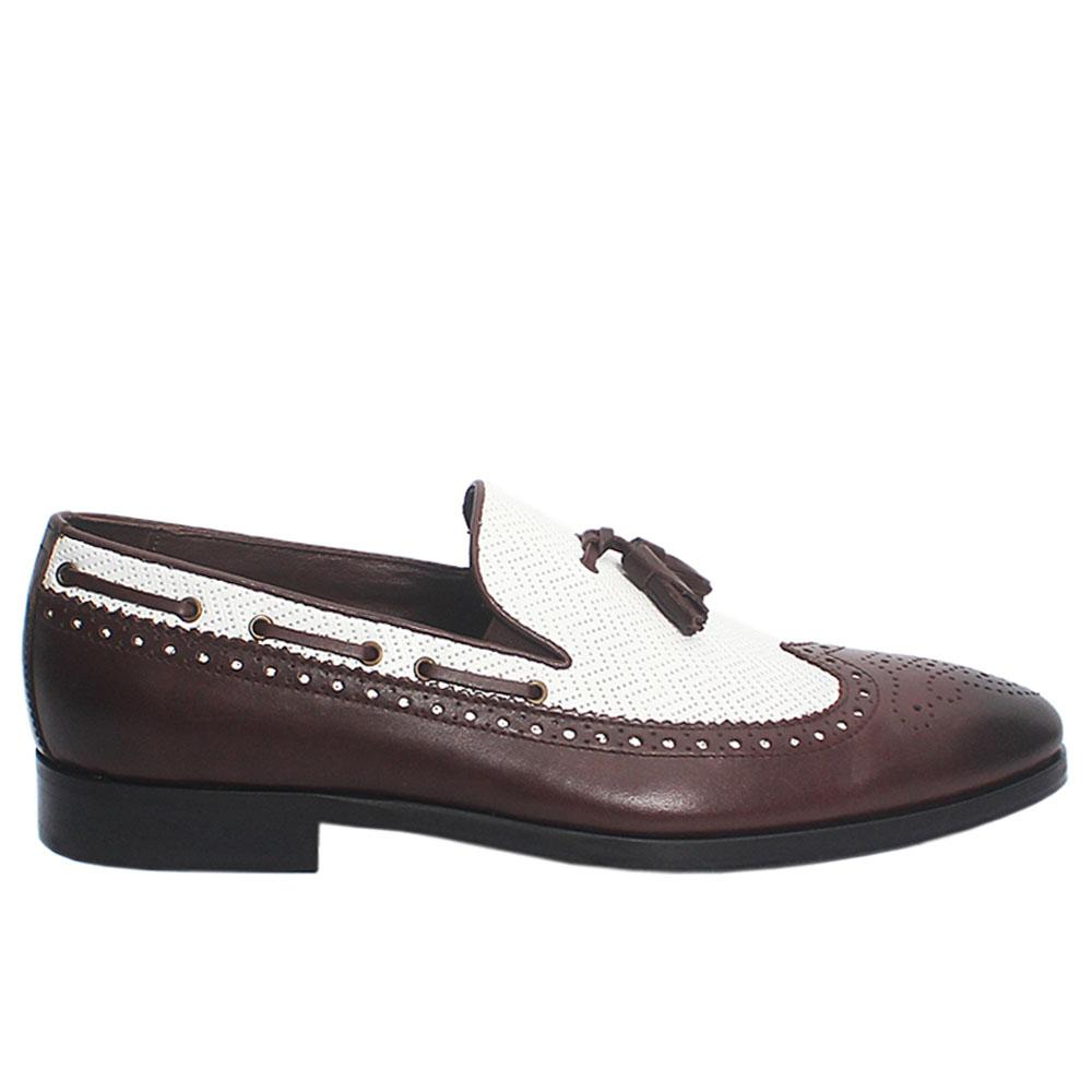 Coffee White Mariotto Italian Leather Loafers