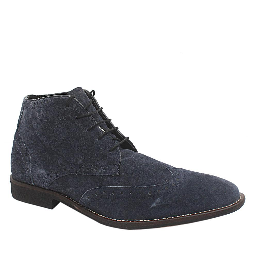 Navy Suede Leather Men Ankle Shoes