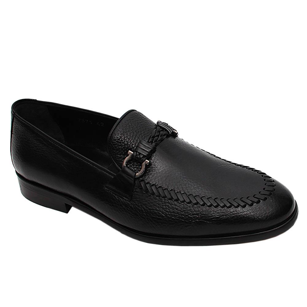 Black Valerio Italian Leather Loafers