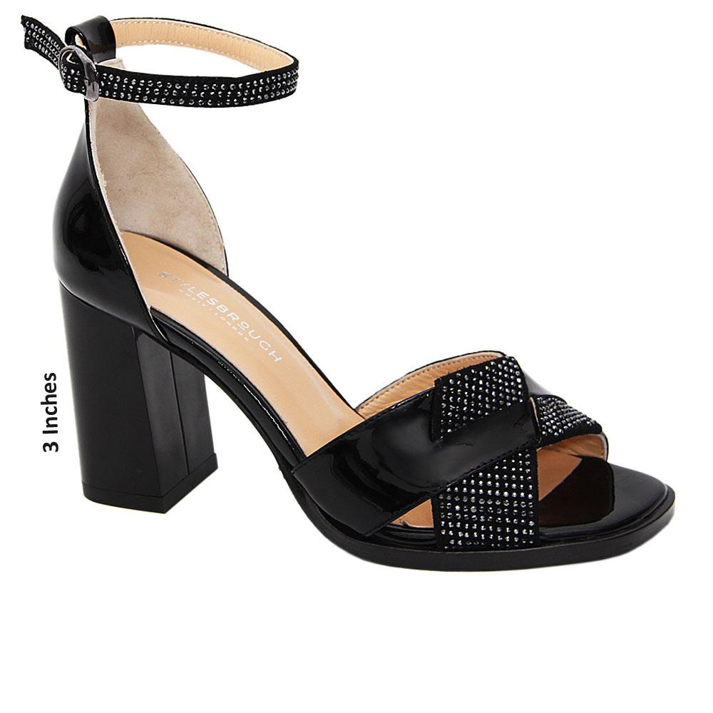 Black Dulce Studded Patent Tuscany Leather High Heel Sandals