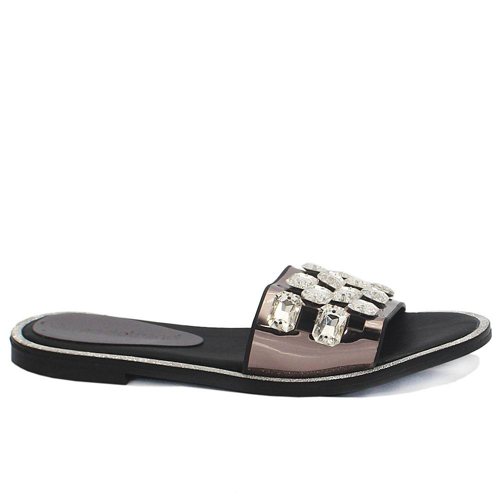 Metallic Gray Crystal Studded Leather Flat Slippers