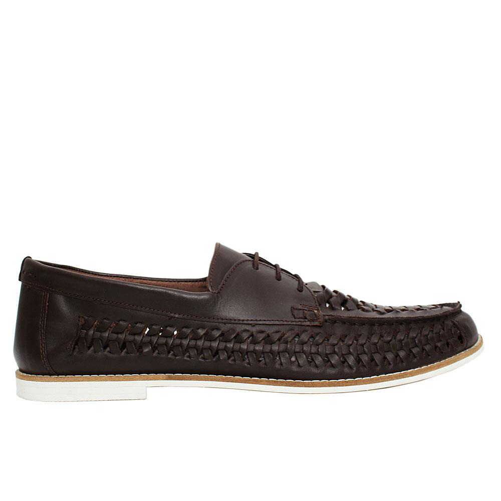 Coffee Ludlow Woven Leather Loafers