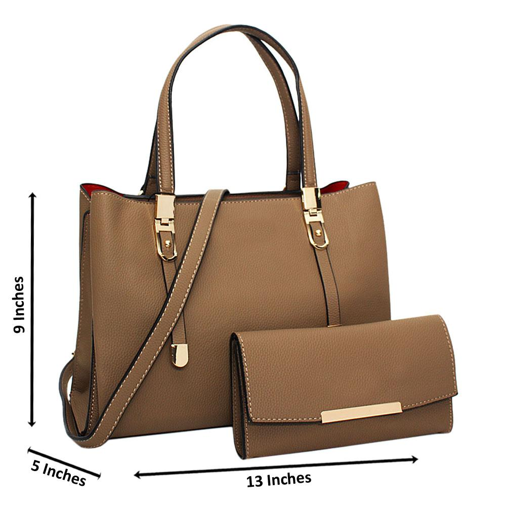 Khaki Scarlett Leather Medium Tote Handbag