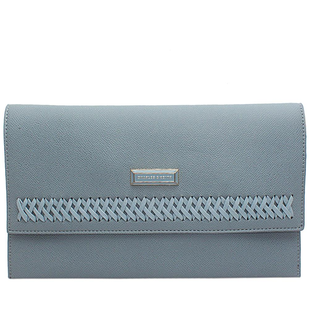 Sky Blue Spiralis Leather Flat Purse