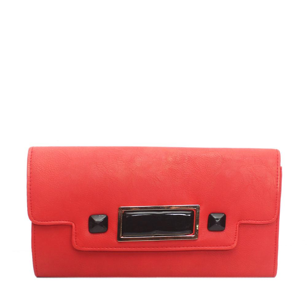 Red Selene Leather Flat Purse