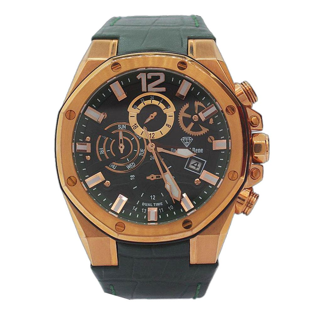 Gold Green Leather Chronograph Watch
