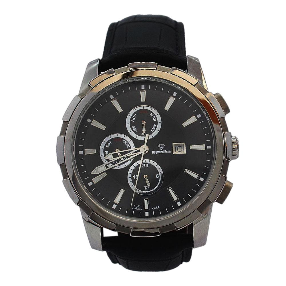 Gold Black Leather Chronograph Watch