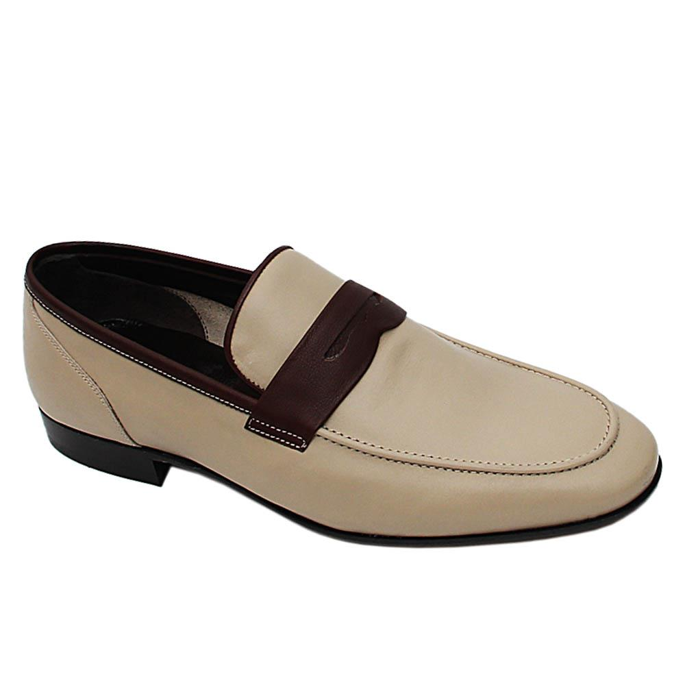 Biege Celestino Italian Leather Loafers