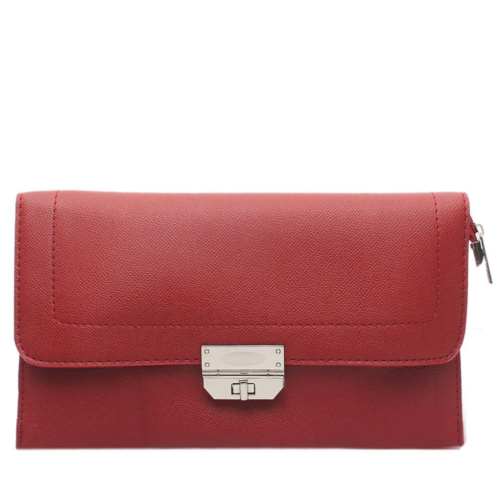 Red Nefelia Leather Flat Purse