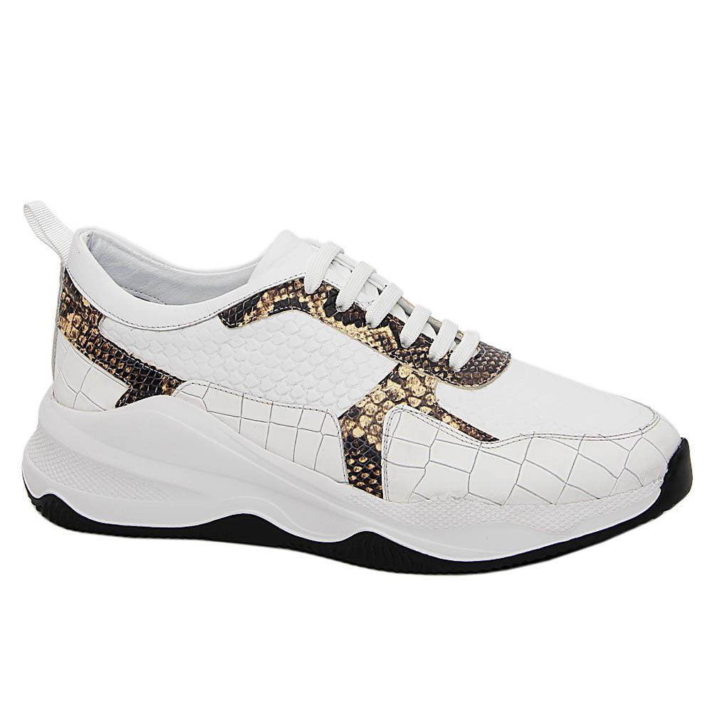 White Riccardo Snake Italian Leather Sneakers