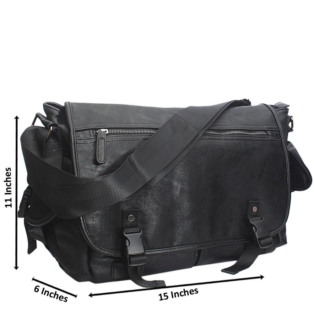 Cielito Black Cassania Leather Messenger Bag