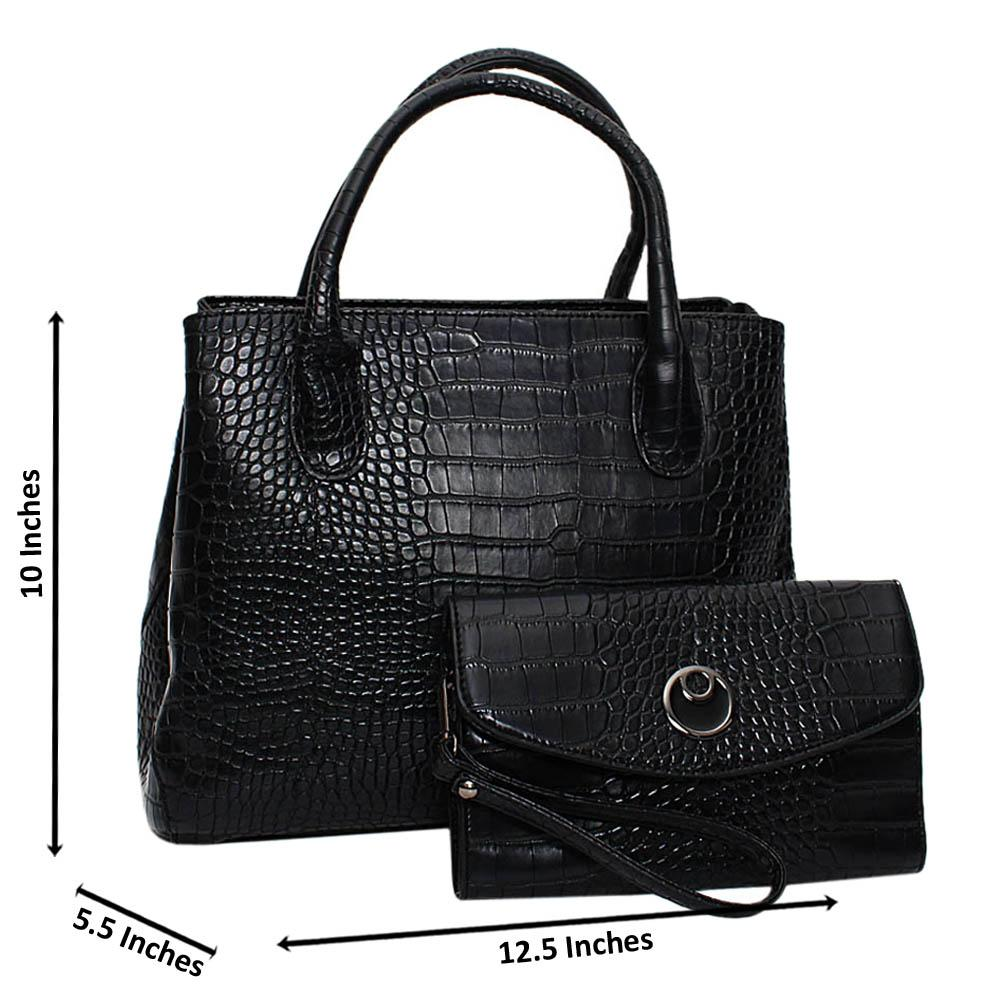 Black Hazel Croc Leather Medium Tote Handbag
