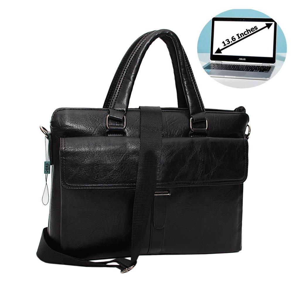 Black Cassania Leather Briefcase Wt Minor Peel