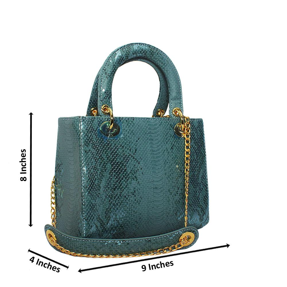 Turquoise Blue Foxie Brown Croc Leather Small Tote Handbag