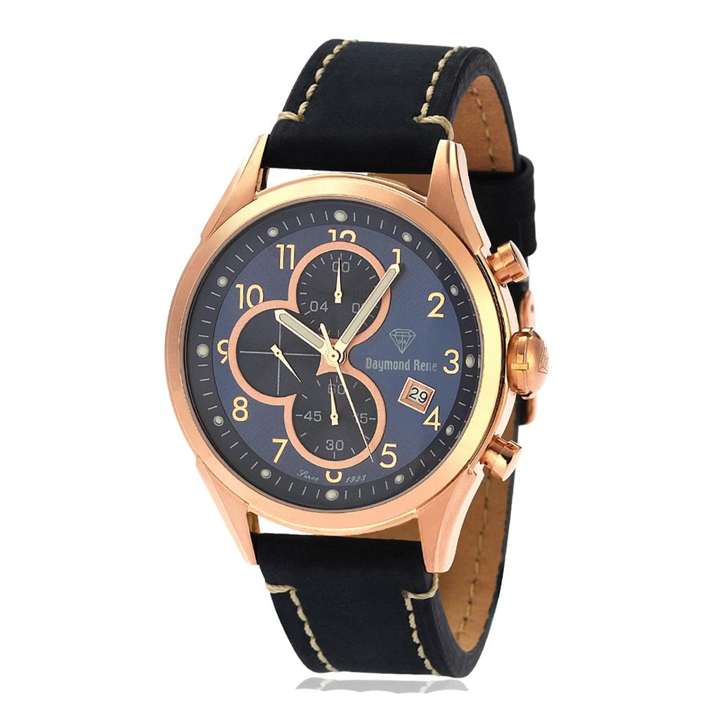 Blue Rose Gold Leather Chronograph Watch