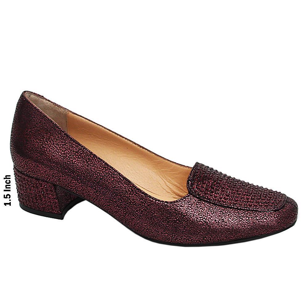 Burgundy Thora Studded Glitz Italian Leather Mid Heel Pumps