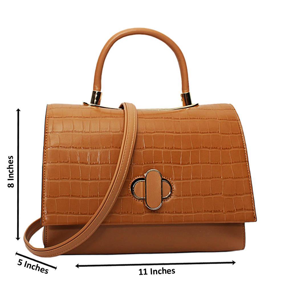 Beige Alyona Mix Croc Leather Medium Top Handle Handbag