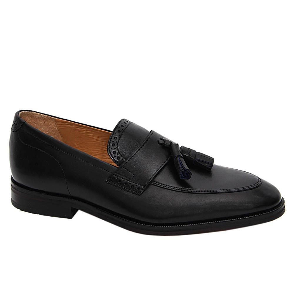 Black Robert Cooper Leather Tassel Loafers