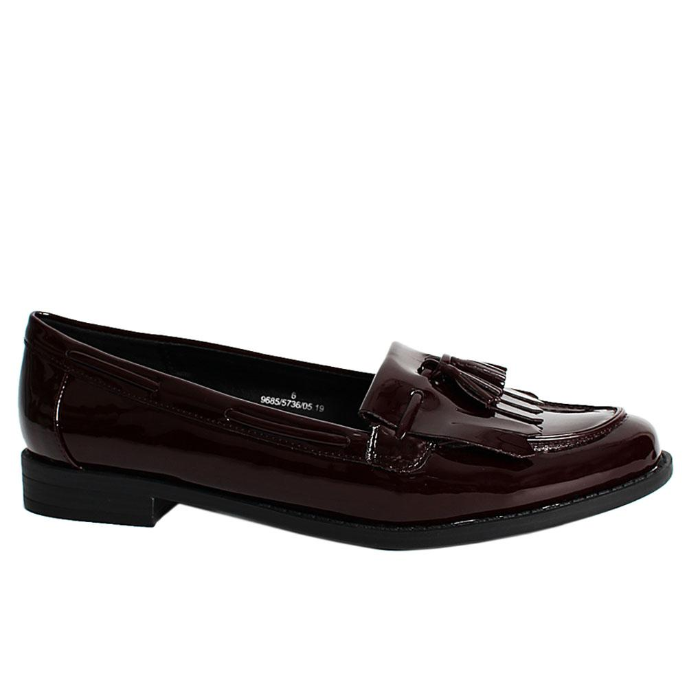 Coffee Brown Tiana Patent Leather Ladies Loafers
