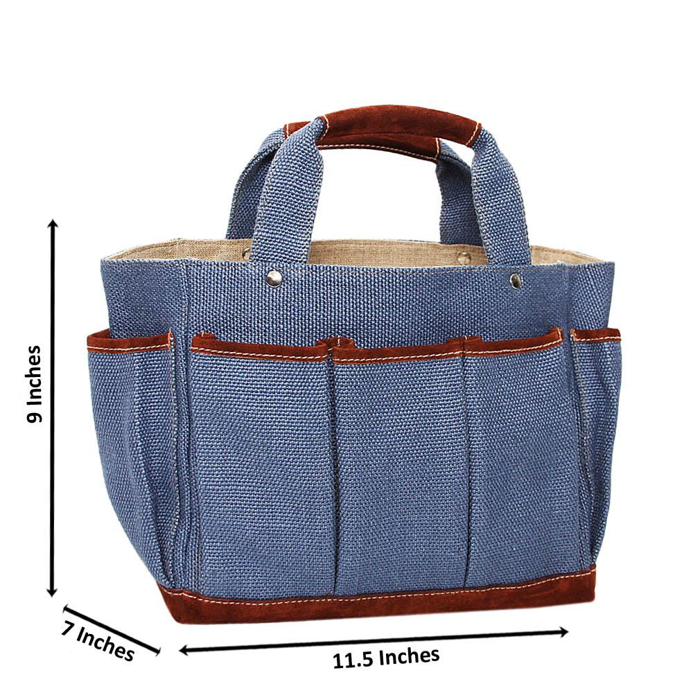 Navy Beckly Woven Fabric Medium Tote Handbag