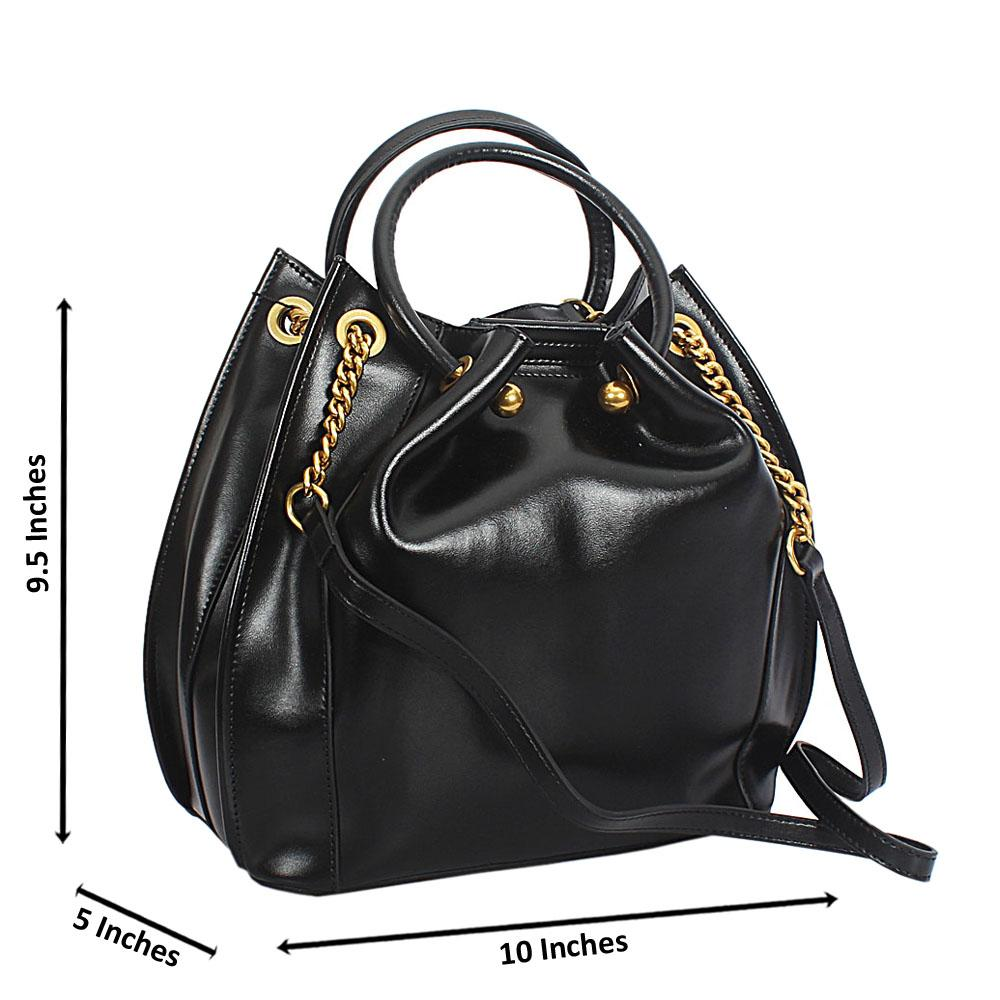 Sofia Black Smooth Cowhide Leather Tote Hand Handbag
