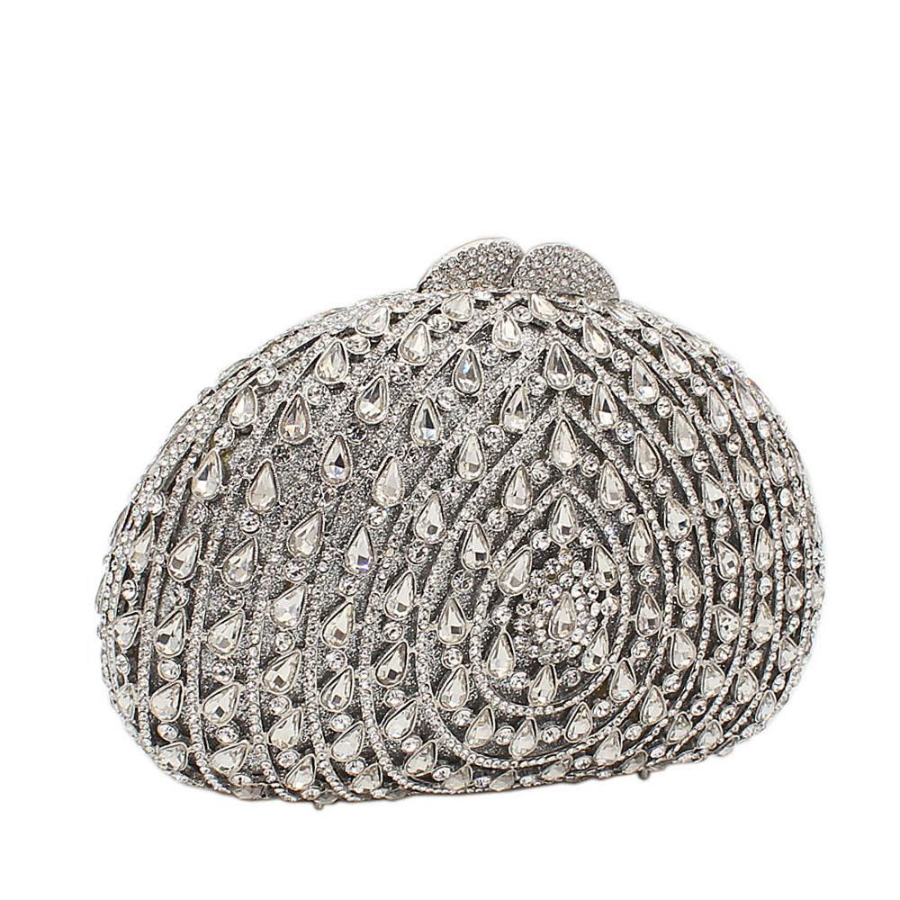Silver Rain Drops Diamante Crystals Clutch Purse