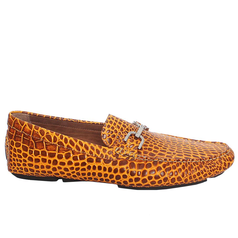 Brown Yellow Donald Croc Leather Drivers Shoes